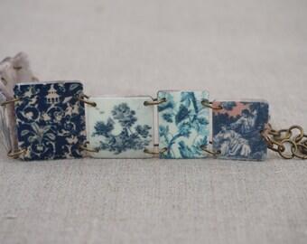 Blue Toile Bracelet, Blue white jewelry, Blue and white, Blue bracelet, Delft blue, Blue jewelry, Blue white bracelet, China blue, Pastoral