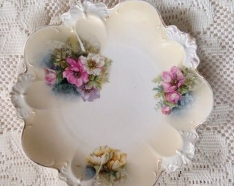 Antique RS Prussia Porcelain Plate, Antique China Plate, Floral Plate, Heavily Scalloped, Rimmed In Gold, Collector Plate, Antique China