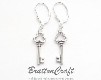 Silver Key Earrings - Key Earrings - Key Charm Earrings - Key Jewelry - Skeleton Key Earrings