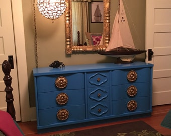 AVAILABLE FOR PAINT - Hollywood Regency Dresser, Chest of Drawers (Price includes paint)