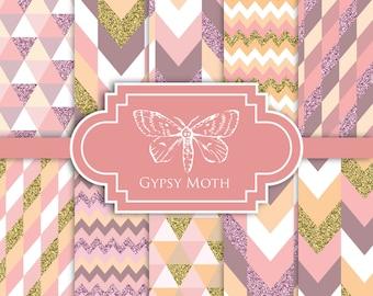 Glitter Digital Paper - Aztec Glitter Pink - Digital Scrapbook Printable Paper Pack Geometric Triangle Chevron Zigzag