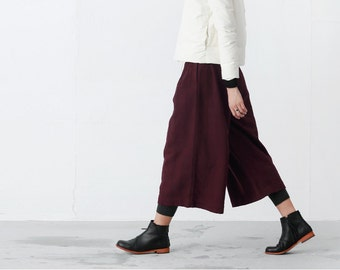 Black / Burgundy textured wide leg cropped pants  BonLife