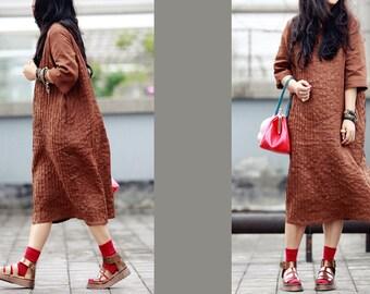 Coffee linen pleated dress BonLife