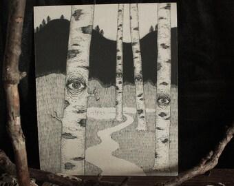 Watching Birches - Print