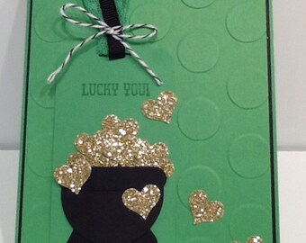 St. Patrick's Day Card - Handmade St. Patty's Day Card - Hand Stamped Irish Card
