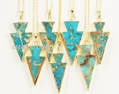 Turquoise Blue Arrowhead Gold Filled Necklace, Druzy Necklace, Arrow Necklace, Turquoise Necklace Geode, Boho Bohemian Statement Layere