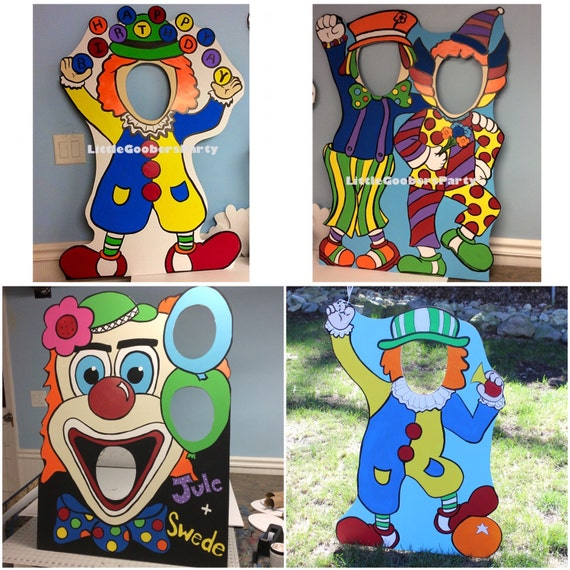 Carnival Birthday Party . Clown Photo Booth Prop Cutout And