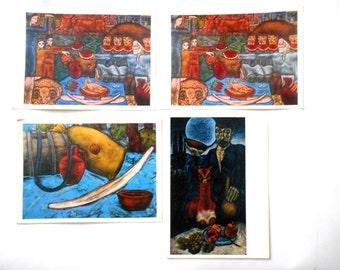 Set 4 Vintage Soviet postcards Georgian artist Khutsishvili, Fine art, Moscow, 1970