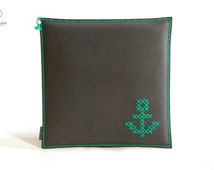 Modern Seat Cushion, Hand Embroidery, Leather Cushion, Recycled Leather, Cross-Stitch, Anchor Pillow, Custom Seat Cushion, Modern Home Decor