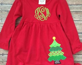 Christmas Tree Applique Dress with Monogram