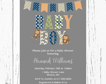 Monkey Baby Shower Invitation Boy, Navy, Green, Orange, Brown  with Banner Bunting Monkey Boy Baby Shower Invitation, JPEG PDF Printable