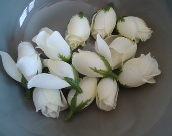 12 Small Ivory Rose Buds Floral Heads (No Stem) DIY Silk Flower Wedding Decor Supplies #293B