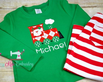 Christmas santa train applique outfit set boy girl kid child toddler infant baby custom personalized name monogram xmas pj pajama