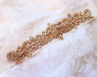 Gold Wedding Belt Gold Bridal Belt Skinny Gold Wedding Belt Sash Beaded pearl Rhinestone belt Crystal Bridal Sash Vintage Wedding sash