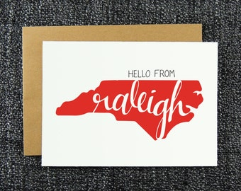 Hello from Raleigh Note Card, Raleigh Greeting Card, Hello Raleigh, NC