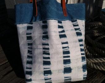 Hand dyed Indigo Arashi Shibori Bag