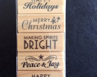 Set of 5 Christmas Theme Rubber Stamps, Christmas Sentiments, Happy New Year Stamp, Rubber Stamp on Wooden Block, Recollections