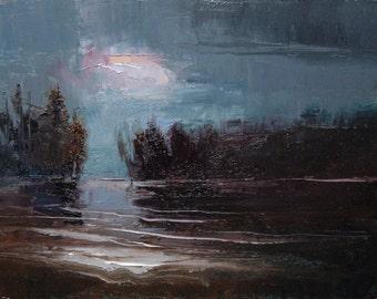 Midnight Wake 11X14 Original tonalist landscape oil painting on canvas panel.