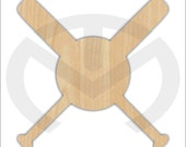Unfinished Wood Baseball & Bats Cross Shape Laser Cutout, Wreath Accent, Ready to Paint and Personalize to your Favorite Team!