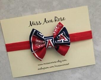U of A inspired bow, University of Arizona bow headband, Wildcats bow
