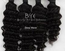 100% Virgin Hair Extensions/Hair Bundles/ Virgin Hair/ Hair Extensions/Four Bundle Deals, Steamed Wavy and Curly Hair