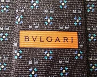 Bvlgari Tie Woven Silk Twin Crown Repeat Pattern Gray Vintage Davide Pizzigoni Designer Dress 7 Fold Necktie Made In Italy