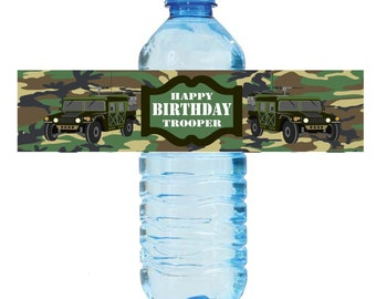 Military Water Bottle Labels Printable Army Labels Instant Download Military Theme Birthday Labels