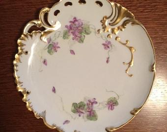 H&C L France Vintage Hand Painted Plate