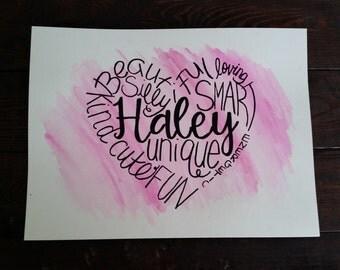 Custom Word Art- Baby Nursery- Children- Wife- Watercolors