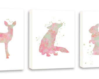 Girls Woodland Animal Decor - Fox - Squirrel - Fawn - Set of Three Gallery Wrapped Canvases - WS15C