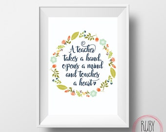 a teacher takes a hand wall print wall art teacher print teacher - Teacher Pictures To Print