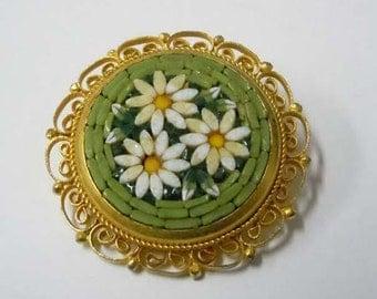 1940s Italian Open Work Gilt Metal Floral Mosaic Brooch