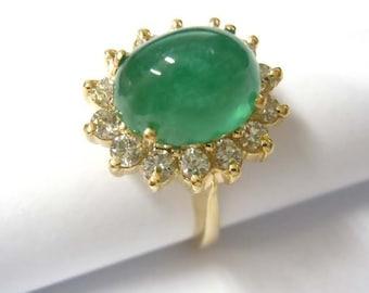 14kt Yellow Gold 6.15ct Emerald Cabochon Diamond Fashion Ring Free Sizing Shipping COA Appraisal