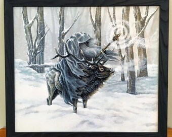 The Blue Wizard - Wizard Riding an Elk in Snow - Original Artwork by Rebecca Magar