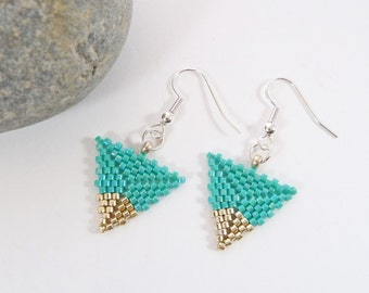 Triangle Earrings, Turquoise, Silver Tip, Geometric Jewellery, On Trend, BFF Gift, Girlfriend Gift, Modern, Seed Bead Earring, Woven Earring