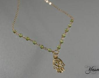 Peridot and Glückshamsa on vintag Anklet