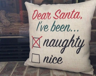 Naughty or Nice Christmas Pillow
