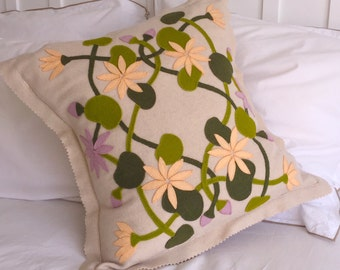 EMBROIDERY APPLIQUE KIT Bespoke Water Lilly Applique cushion kit in pure wool.