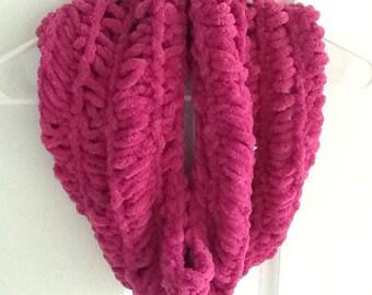 Handmade Knitted Cowl Pink Raspberry Plush