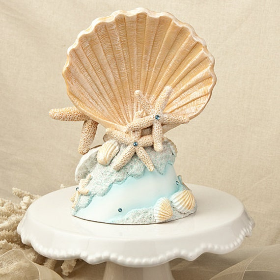 seashell wedding cake topper destination beach theme by pbpaperie. Black Bedroom Furniture Sets. Home Design Ideas