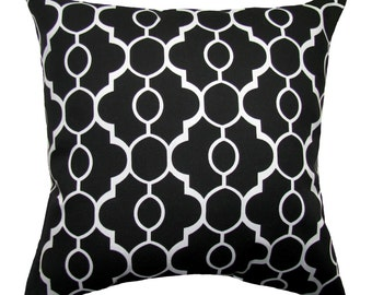 Black Outdoor Pillow Cover - Drammen Black Pillow Cover - Black and White Outdoor Pillow - Black Geometric Outdoor Pillow Cushion Cover -