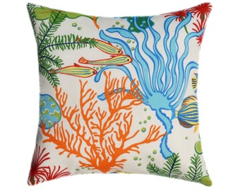 OUTDOOR Ocean Fish Coral Outdoor Pillow Cushion Covers, Porch Pillow, Pool Pillow, 18x18 20x20 22x22 24x24, Beach Decor Pillow