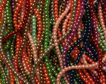 400 4mm Glass Pearl Beads in Mixed Colors