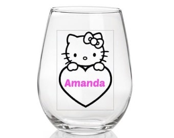 Hello Kitty Wine Glass,Vinyl Glass,Nerd Glass,Anime Glass,Personalized Glass,Gift