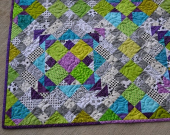 "Handmade Modern Scrappy Quilt 82"" x 82"" Blue, Green, Purple, Grey, Homemade Quilt for Sale, Free Shipping"