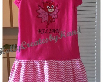 PJ Masks Shirt, Owlette, Gekko, or Catboy - personalized embroidered dress, Bedtime Heros, PJ Masks birthday dress, with or without name/age