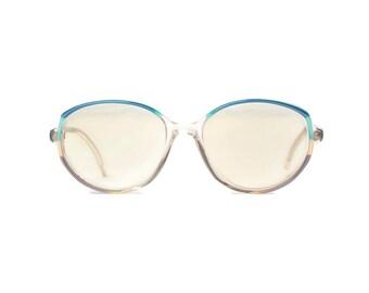 capri DELIA* Frauen Brille transparent blau grün türkis Vintage glasses Hipster retro Eyewear Frame Woman