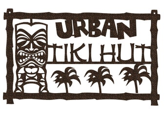 Custom Tiki Hut Metal Sign With First or Last Name