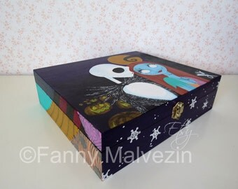 Sally and Jack painted box (The Nightmare before Christmas)