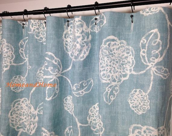 Fabric Shower Curtain Adele Ocean Ivory Light Blue 72 X 84 108